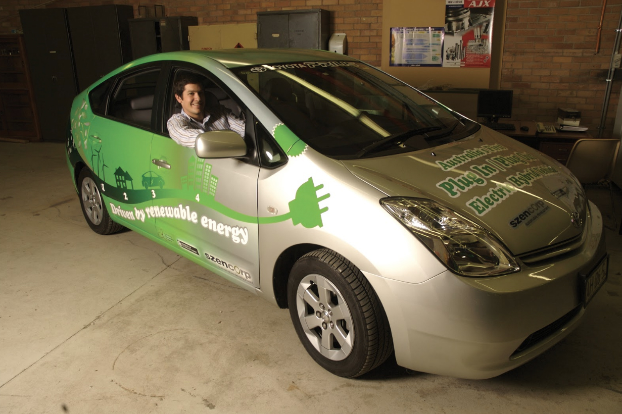 Josh Usher in one of his early electric vehicles